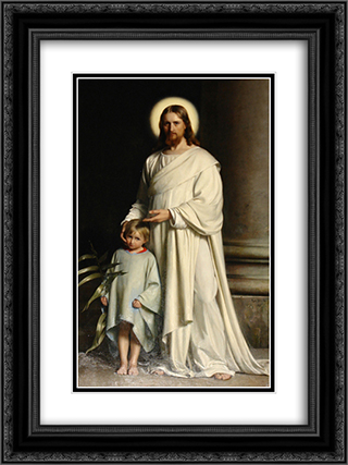Christ and Child 18x24 Black or Gold Ornate Framed and Double Matted Art Print by Carl Bloch