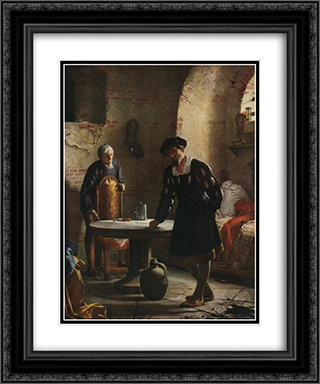 Christian II imprisoned in the tower at Sonderborg castle 20x24 Black or Gold Ornate Framed and Double Matted Art Print by Carl Bloch