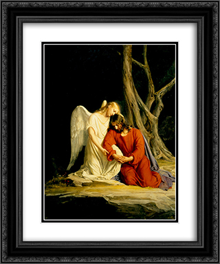 Gethsemane 20x24 Black or Gold Ornate Framed and Double Matted Art Print by Carl Bloch