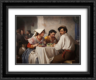In a Roman Osteria 24x20 Black or Gold Ornate Framed and Double Matted Art Print by Carl Bloch