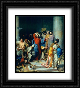 Jesus casting out the money changers at the temple 20x22 Black or Gold Ornate Framed and Double Matted Art Print by Carl Bloch