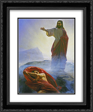 Jesus Tempted 20x24 Black or Gold Ornate Framed and Double Matted Art Print by Carl Bloch