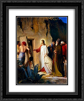 Raising of Lazarus 20x24 Black or Gold Ornate Framed and Double Matted Art Print by Carl Bloch