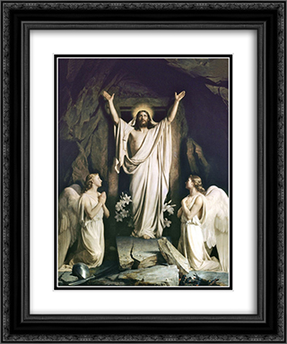 Resurrection of Christ 20x24 Black or Gold Ornate Framed and Double Matted Art Print by Carl Bloch