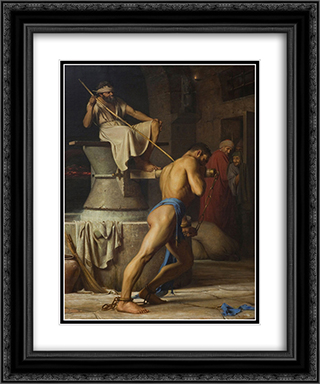 Samson and the Philistines (Samson in the Threadmill) 20x24 Black or Gold Ornate Framed and Double Matted Art Print by Carl Bloch