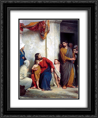 Suffer the Children 20x24 Black or Gold Ornate Framed and Double Matted Art Print by Carl Bloch