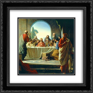 The Last Supper 20x20 Black or Gold Ornate Framed and Double Matted Art Print by Carl Bloch