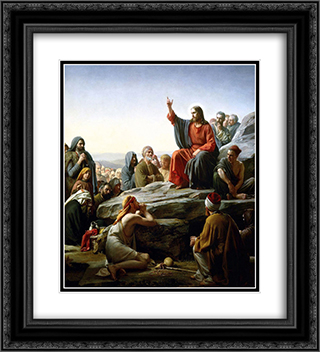 The Sermon on the Mount 20x22 Black or Gold Ornate Framed and Double Matted Art Print by Carl Bloch