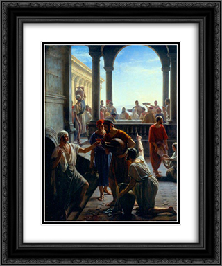 Wedding at Cana 20x24 Black or Gold Ornate Framed and Double Matted Art Print by Carl Bloch