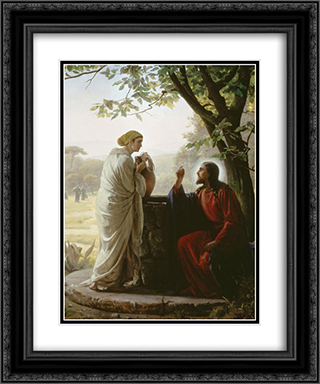 Woman at the Well 20x24 Black or Gold Ornate Framed and Double Matted Art Print by Carl Bloch