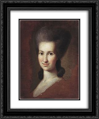 Portrait of a Woman 20x24 Black or Gold Ornate Framed and Double Matted Art Print by Carl Ludwig Johann Christineck