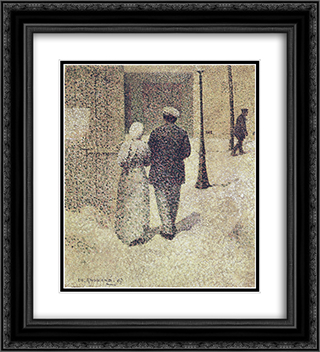 Couple in the street 20x22 Black or Gold Ornate Framed and Double Matted Art Print by Charles Angrand