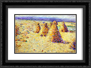 Hay Ricks in Normandy 24x18 Black or Gold Ornate Framed and Double Matted Art Print by Charles Angrand