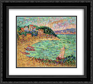Le Petit Port 22x20 Black or Gold Ornate Framed and Double Matted Art Print by Charles Angrand