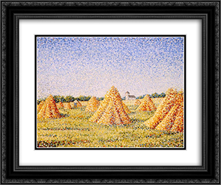 The Harvest 24x20 Black or Gold Ornate Framed and Double Matted Art Print by Charles Angrand