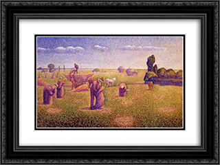 The Harvesters 24x18 Black or Gold Ornate Framed and Double Matted Art Print by Charles Angrand