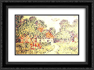 The Little Farm 24x18 Black or Gold Ornate Framed and Double Matted Art Print by Charles Angrand