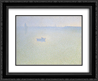 The Seine at Dawn 24x20 Black or Gold Ornate Framed and Double Matted Art Print by Charles Angrand