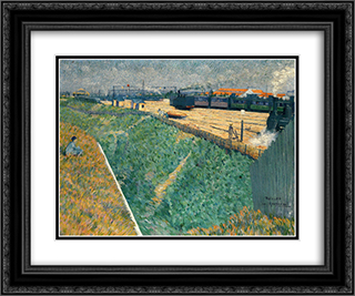 The Western Railway at its Exit from Paris 24x20 Black or Gold Ornate Framed and Double Matted Art Print by Charles Angrand