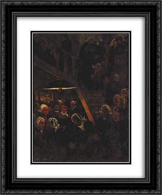 Cabaret 20x24 Black or Gold Ornate Framed and Double Matted Art Print by Charles Cottet
