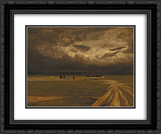 Fishermen fleeing the storm 24x20 Black or Gold Ornate Framed and Double Matted Art Print by Charles Cottet