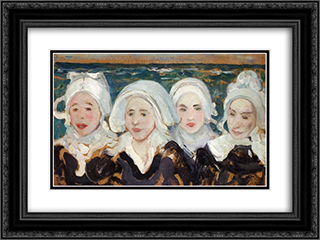Four Breton Women at the Seashore 24x18 Black or Gold Ornate Framed and Double Matted Art Print by Charles Cottet