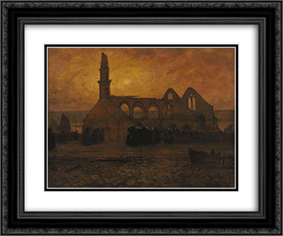 Lamentation of women Camaret around the chapel of burnt-Roch' Amadour 24x20 Black or Gold Ornate Framed and Double Matted Art Print by Charles Cottet