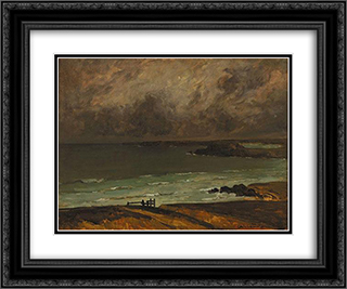 Marine Breton 24x20 Black or Gold Ornate Framed and Double Matted Art Print by Charles Cottet
