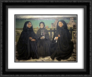 Mourning, Brittany 24x20 Black or Gold Ornate Framed and Double Matted Art Print by Charles Cottet