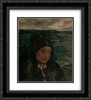 Old Woman of Brittany 20x22 Black or Gold Ornate Framed and Double Matted Art Print by Charles Cottet