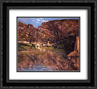 Petit village au pied de la falaise 22x20 Black or Gold Ornate Framed and Double Matted Art Print by Charles Cottet