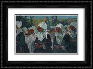 Procession 24x18 Black or Gold Ornate Framed and Double Matted Art Print by Charles Cottet
