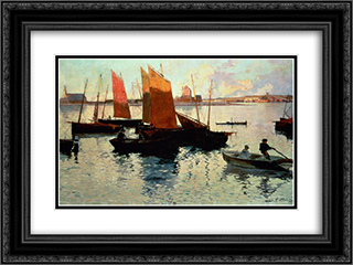Rayons du soir 24x18 Black or Gold Ornate Framed and Double Matted Art Print by Charles Cottet