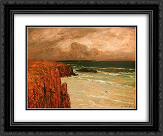 Sea Landscape in Brittany 24x20 Black or Gold Ornate Framed and Double Matted Art Print by Charles Cottet
