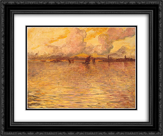 Seascape with Venice in the Distance 24x20 Black or Gold Ornate Framed and Double Matted Art Print by Charles Cottet