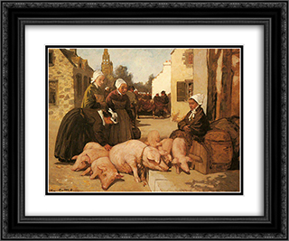 Selling Livestock 24x20 Black Ornate Framed and Double Matted Art Print by Charles Cottet