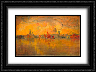 View of Venice from the Sea 24x18 Black or Gold Ornate Framed and Double Matted Art Print by Charles Cottet