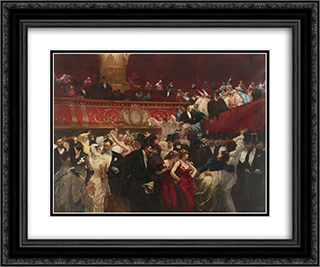 At the Masquerade 24x20 Black or Gold Ornate Framed and Double Matted Art Print by Charles Hermans