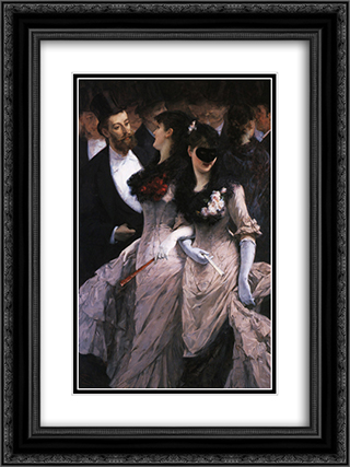At the Masquerade (detail) 18x24 Black or Gold Ornate Framed and Double Matted Art Print by Charles Hermans
