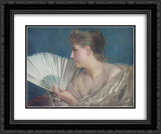 Femme a l'eventail 24x20 Black or Gold Ornate Framed and Double Matted Art Print by Charles Hermans