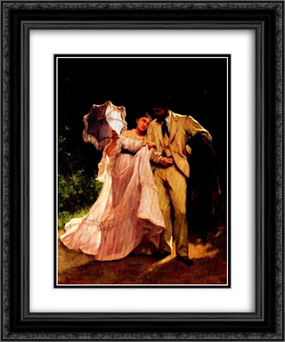 Honeymoon 20x24 Black or Gold Ornate Framed and Double Matted Art Print by Charles Hermans
