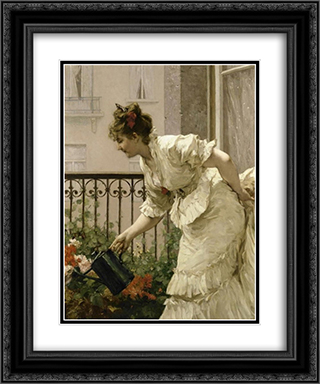 La Belle Voisine 20x24 Black or Gold Ornate Framed and Double Matted Art Print by Charles Hermans