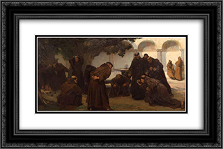 Monks Playing Bowls 24x16 Black or Gold Ornate Framed and Double Matted Art Print by Charles Hermans