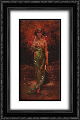 Orientale au tambourin 16x24 Black or Gold Ornate Framed and Double Matted Art Print by Charles Hermans