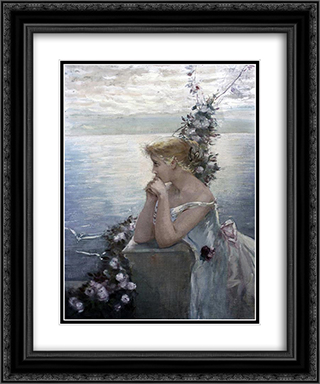 Portrait of a girl (identified as the artist's daughter) 20x24 Black or Gold Ornate Framed and Double Matted Art Print by Charles Hermans