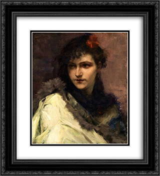 Portrait of a young Lady 20x22 Black or Gold Ornate Framed and Double Matted Art Print by Charles Hermans