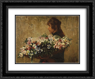 The Flower Seller 24x20 Black or Gold Ornate Framed and Double Matted Art Print by Charles Hermans