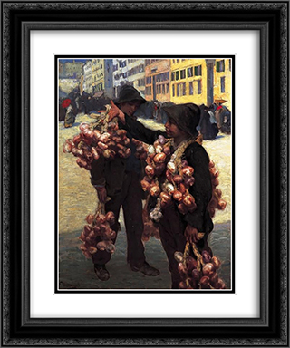 The Onion Sellers 20x24 Black or Gold Ornate Framed and Double Matted Art Print by Charles Hermans