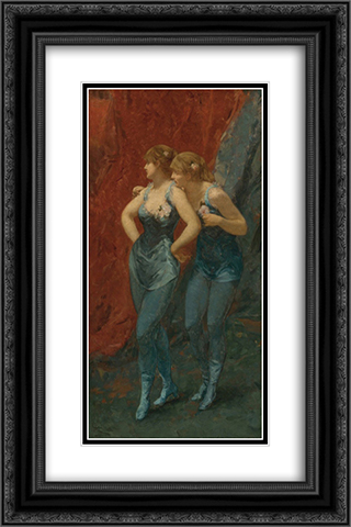 Two Dancers 16x24 Black or Gold Ornate Framed and Double Matted Art Print by Charles Hermans