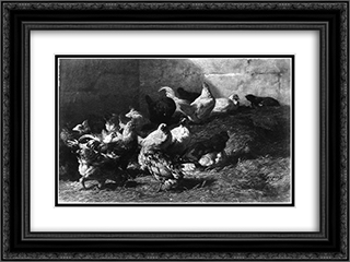 Chickens 24x18 Black or Gold Ornate Framed and Double Matted Art Print by Charles Jacque